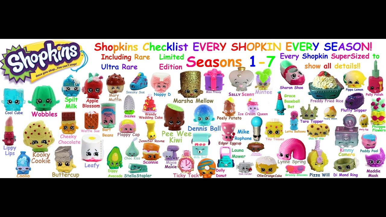 shopkins complete shopkins checklist season 1 7 every shopkins