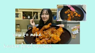 How to make Tasty Korean Fried Chicken in 15 minutes ( Dakgangjeong ) Easy Recipe Kids Can Do (13 )