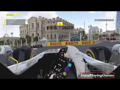 F1 2017 Game (PS4) - (Safety Car) 25% Career Mode Azerbaijan Baku City