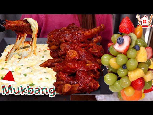 메리크리스마스 ~ 🎄 매콤한 치즈 등갈비와 과일트리 먹방 Mukbang  spicy pork ribs , fruits tree