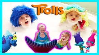 mermaids magically turn into trolls play in the mr bubble bath full of surprises w play doh girl