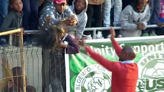 Steve Komphela dancing with Siwelele supporters