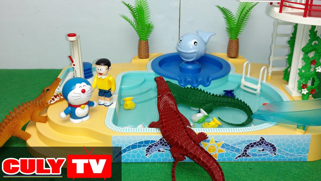 Doremon đồ chơi vui #3 – cá sấu tấn công Nobita đi tắm hồ bơi