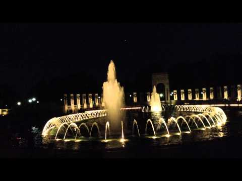 Washington DC World War II Memorial at night