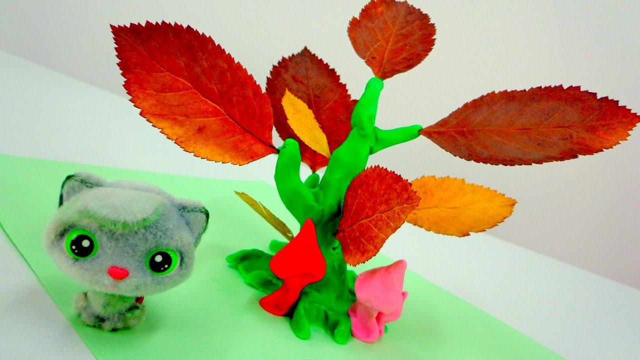 Осенние поделки! Дерево с листочками для Тоси - YouTube