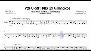 29 Popurrí Mix Villancicos Partituras de Tuba Noche de Paz Gatatumba Los Peces en el Río