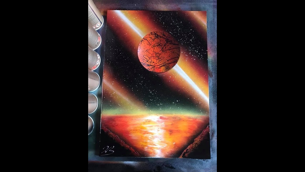 How to SPRAY PAINT ART planet for beginners by Jon Barber ...