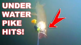 Underwater Pike hits on lures! (trolling big lures)