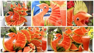 HOW TO QUICKLY CUT AND SERVE A WATERMELON PEACOK OR BIRD - Watermelon Juice(Part 2)