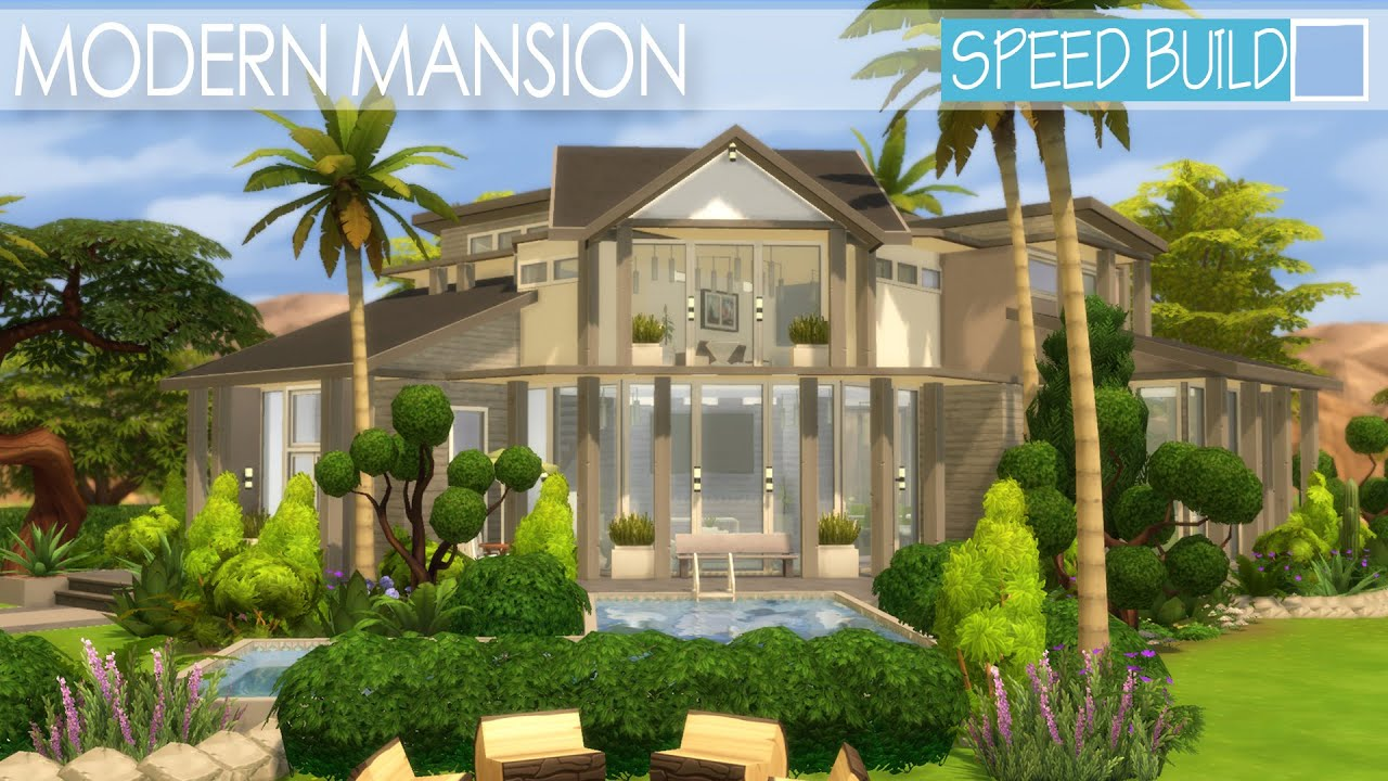 The Sims 4 House Building   Modern Mansion | Speed Build   YouTube