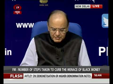 Arun Jaitley addresses media on demonetisation of higher denomination notes