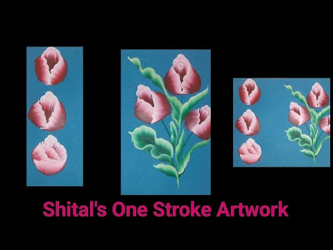 Simple Acrylic Painting Rose Technique | One stroke painting for beginners | Painting Lessons