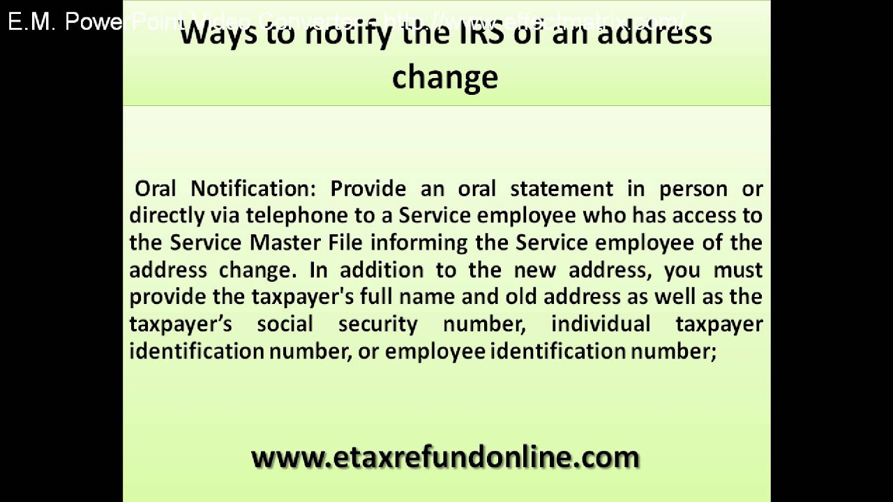 Notify the irs of an address change youtube notify the irs of an address change falaconquin