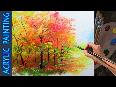 Acrylic Painting Lesson Basic Group of Autumn Trees for beginner | ART TUTORIAL FOREST AND LANDSCAPE
