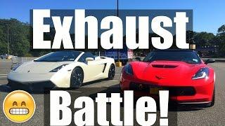 badass lamborghini vs modded 2016 z06 corvette exhaust battles
