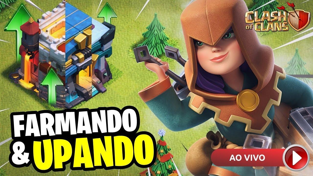 DOMINGÃO JOGANDO E TROCANDO IDEIA! FARMANDO E UPANDO AO VIVO! | CLASH OF CLANS