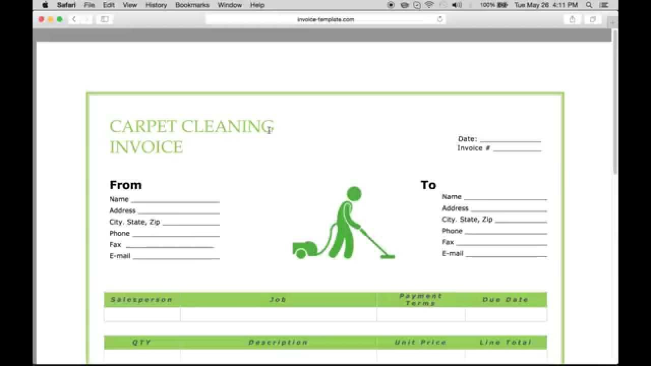 Make a Carpet Service Cleaning Invoice PDF Excel – Cleaning Service Receipt