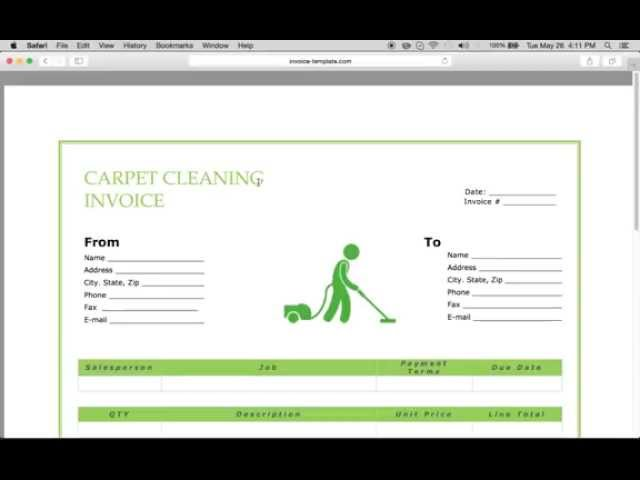 Free Carpet Cleaning Service Invoice Template | Excel | PDF | Word ...