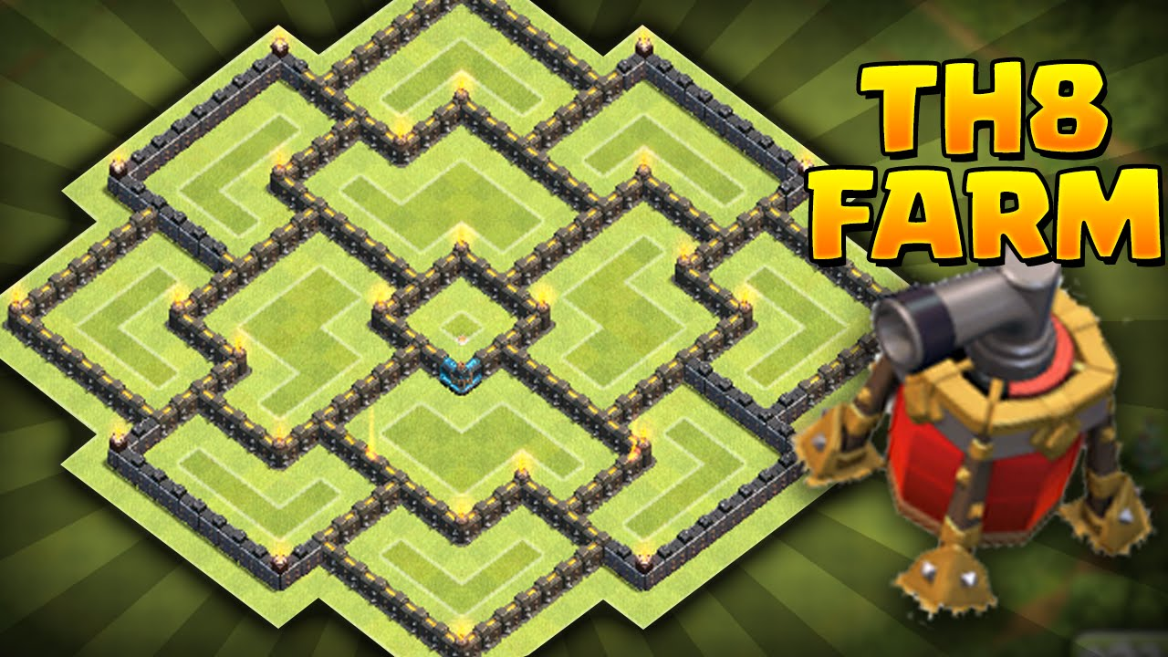 best th8 farming base coc best town hall 8 farming base youtube