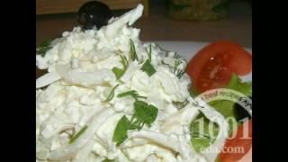 Рецепт салата с консервированными кальмарами и гранатом