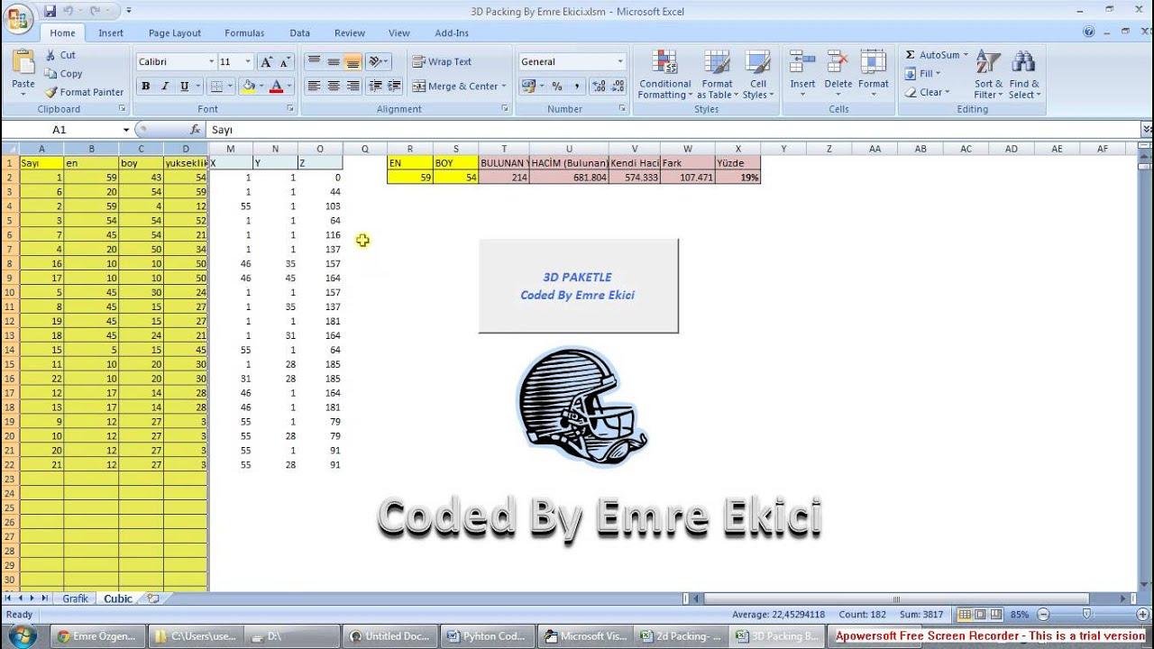 Free 3D Box/Bin Packing Excel Macro By Emre Ekici