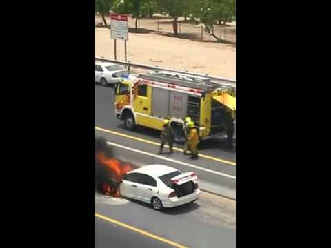 Car fire on the Dubai Road , Jumeirah