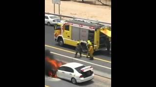Car fire on the Dubai Road , Jumeirah