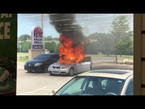 Car catches on fire at Dollar Tree - Wichita Kansas