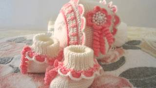 шапочка и пинеточки для новорожденного..крючок.украшено бусинками.