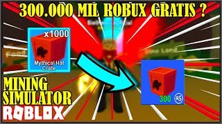 HE GAVE ME A THOUSAND BOXES MYTHIC (MYTHICAL HAT CRATE) IN MINING SIMULATOR-ROBLOX