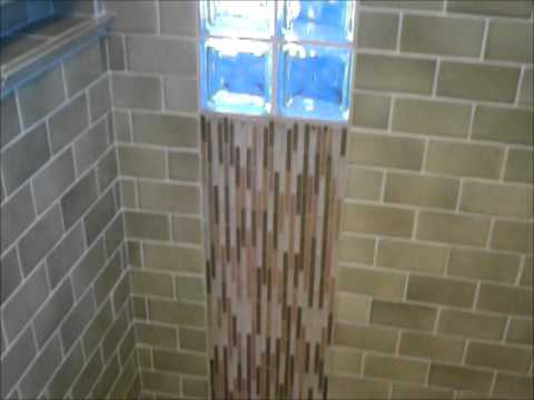 Shower with glass block and 3 x 6 in subway tile  YouTube