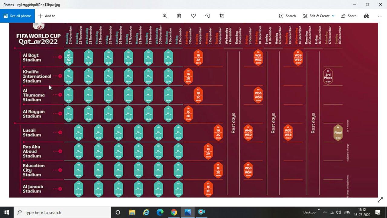 2022 World Cup Calendar.Fifa World Cup Match Schedule Confirmed Hosts Qatar To Kick Off 2022 Tournament At Al Bayt Stadium Youtube