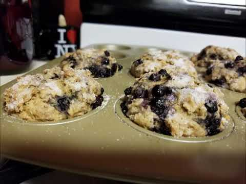 The BEST!! blueberry and banana nut muffins (RECIPE MUKBANG)