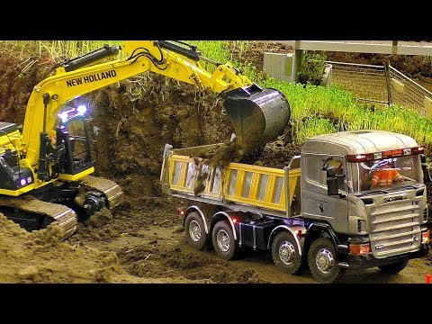 AMAZING RC CONSTRUCTION SITE WITH FASCINATING MODEL MACHINES IN MOTION