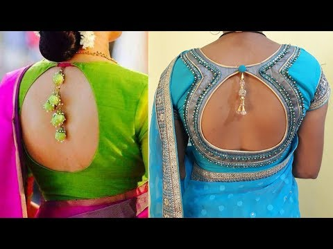 Latest Top Best Beautiful Ideas for Pot Neck Blouse Designs for Back 2018 - 2019