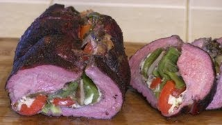 SmokingPit.com - Mushroom, Pepper & Provolone Cheese Stuffed Beef Tri Tip Roast with Tatonka Dust