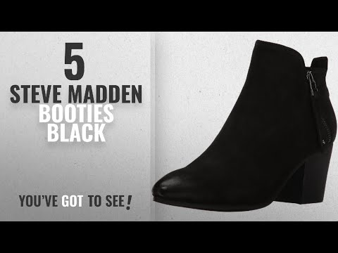 Top 5 Steve Madden Booties Black [2018]: Steve Madden Women's Julius Ankle Bootie, Black Leather,