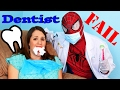 DENTIST FAIL Spiderman IRL Tooth Doctor! Sandra Gets Teeth Cleaned by Superhero Friend In Real Life