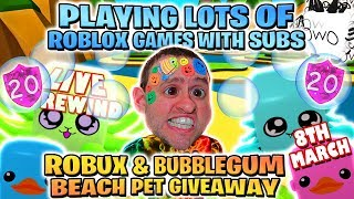 #3 BEACH PET & ROBUX GIVEAWAY 🌊 GAMES WITH SUBS | SHINY & LEGENDARY BUBBLEGUM UPDATE 17 🔴 Roblox RW