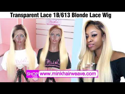 100% Human Hair Blonde Lace Wig Transparent Lace Mink Hair ...