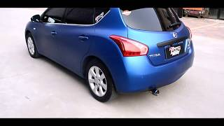 Nissan Tiida modified exhaust and wrapped blue Arlon