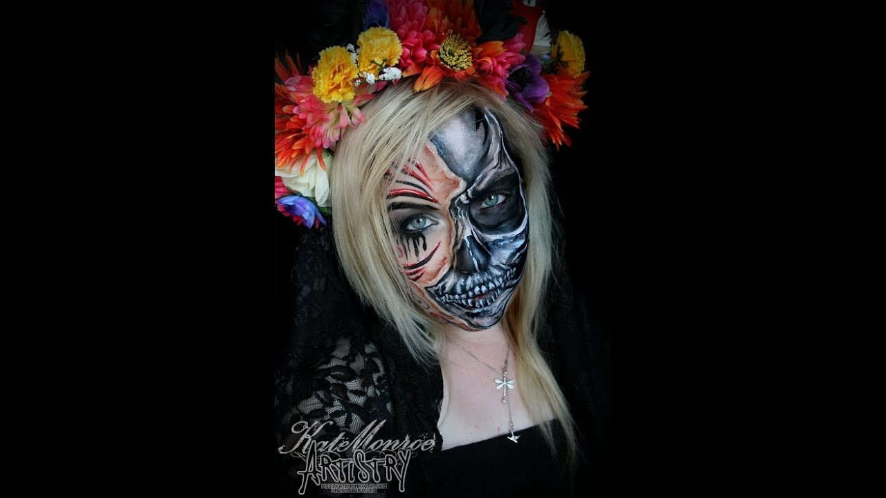 day of the dead skull face paint misskatemonroecouk - Halloween Day Of The Dead Face Paint