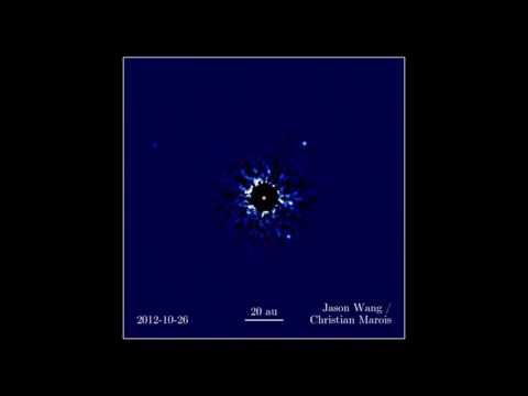 Video of FOUR directly-imaged EXOplanets orbiting the star HR 8799!