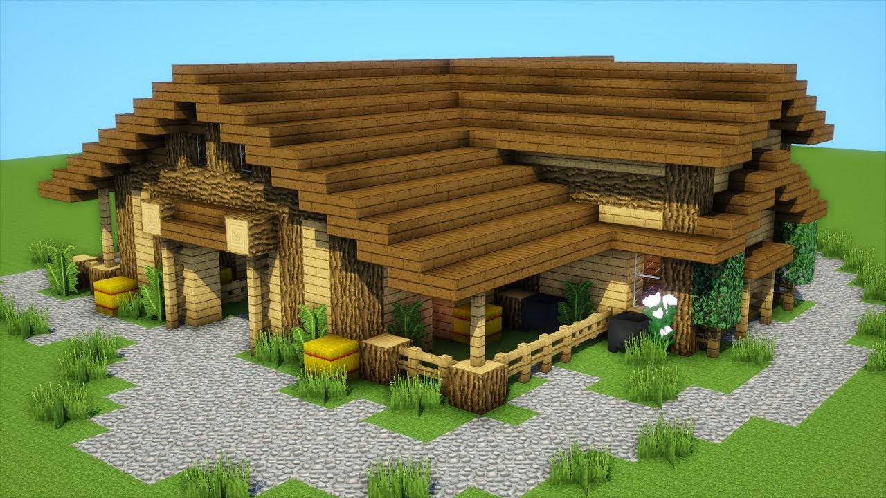 Minecraft: How to build a farm house/stables/mansion ... Minecraft Mansion Ideas Of How To Build