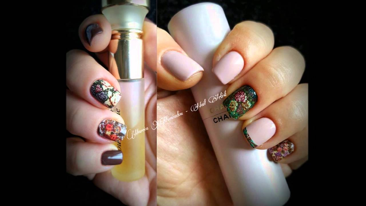 salon nails with design Vanilla Nail Art 2 - YouTube