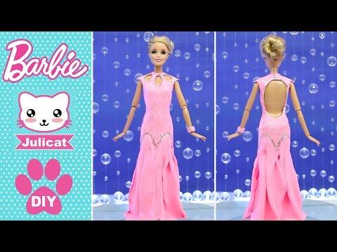 Барби Вечернее платье для куклы Как сделать своими руками DIY Легкий пластилин