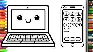 Pagina di colorazione il computer portatile e smartphone   Come disegnare e colora per i bambini