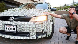 covering-my-brother-s-car-in-1-000-dollar-bills