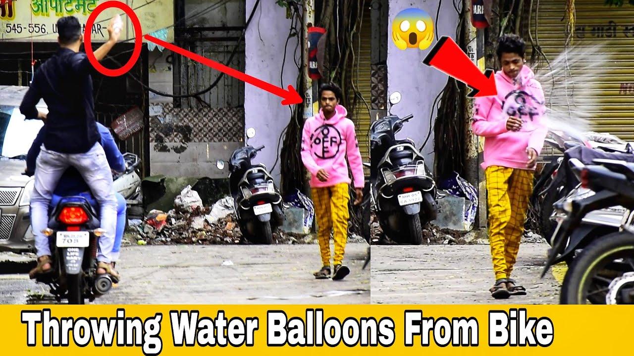 Throwing Water Balloons From Bike | Throwing Water Balloons Prank | Part 2 | Prakash Peswani Prank |