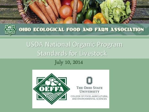 USDA National Organic Program Standards for Livestock